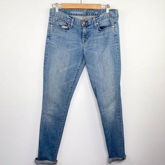 J. Crew Light Wash Blue Toothpick Skinny Jeans 30